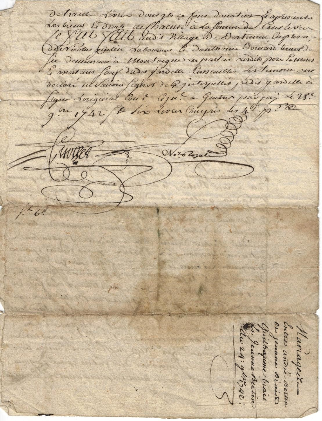 Parchment attesting to the origins of Vignobles Bertin (4)